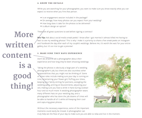 Ranking factor - more written content