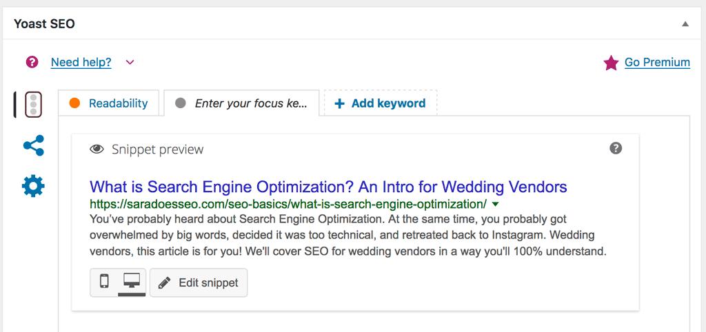 Yoast SEO Settings box on WordPress