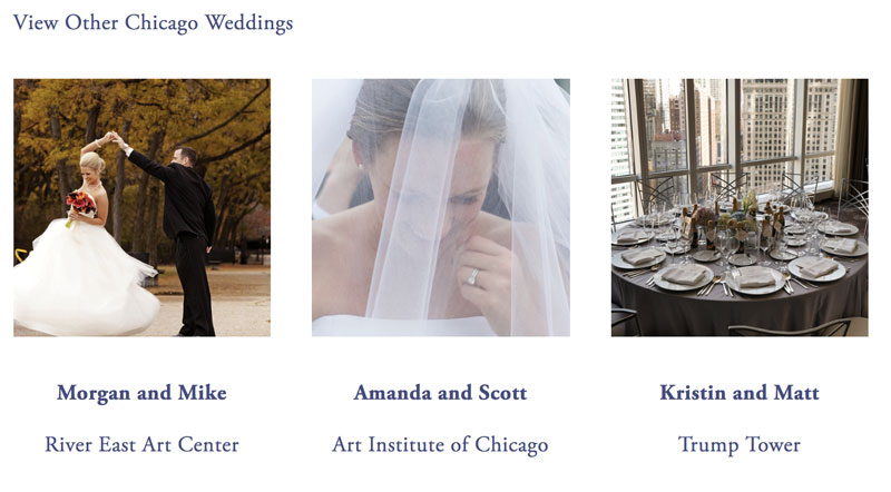 Internal linking to related weddings