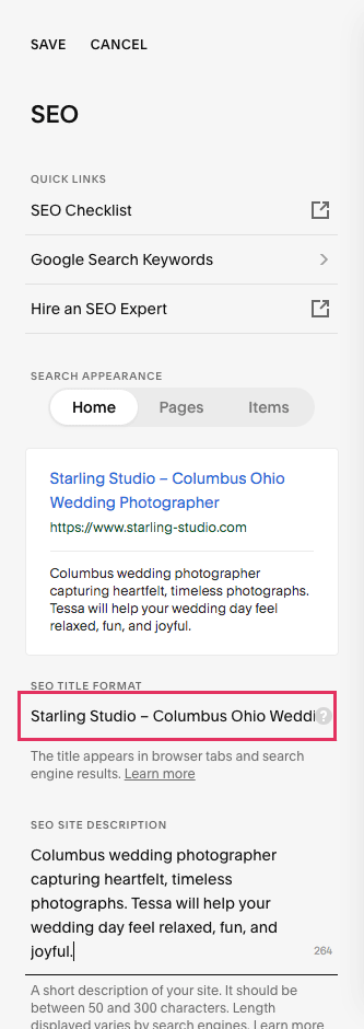 Squarespace SEO settings with SEO title format highlighted