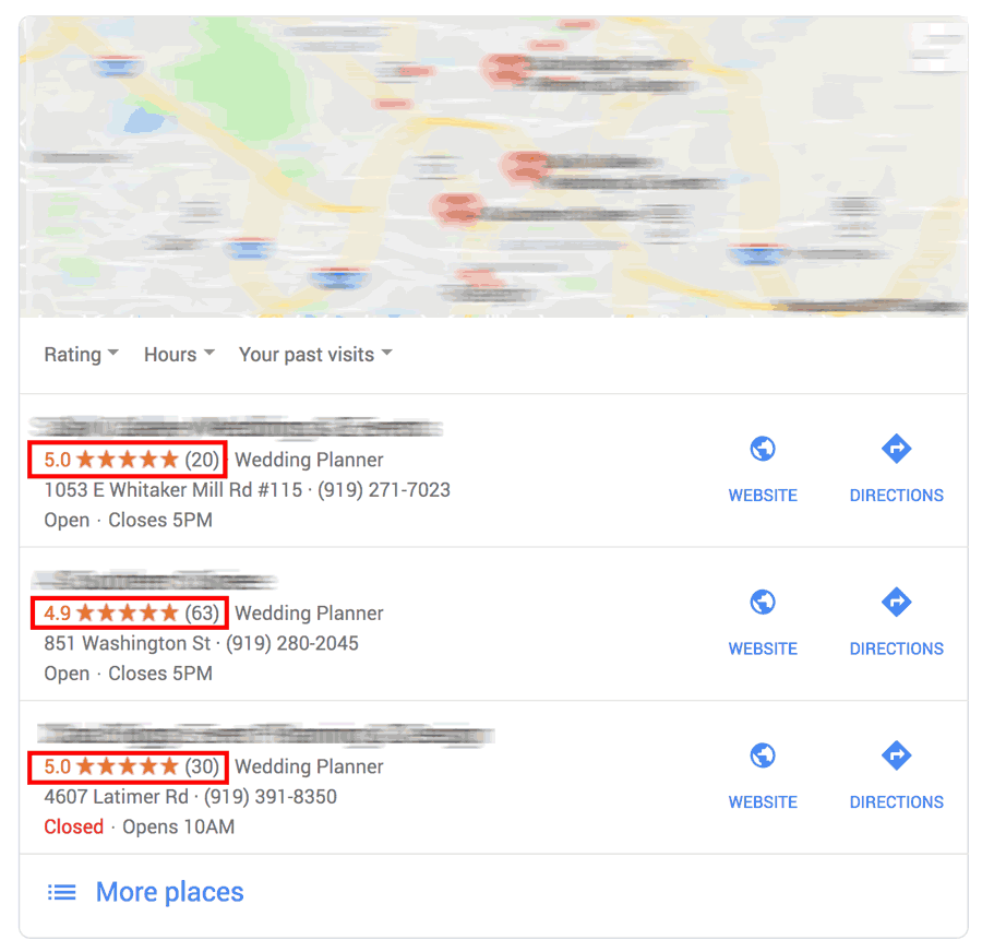 Google map results for wedding planner search