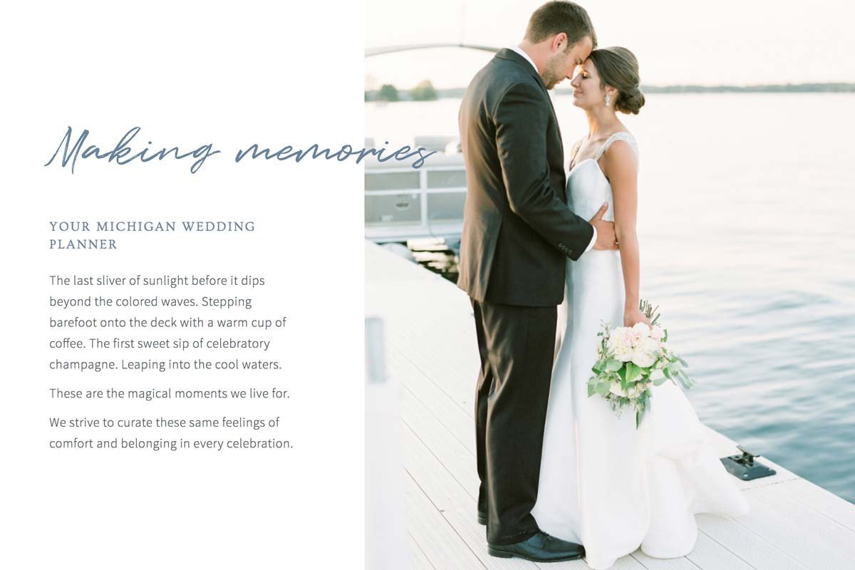 Wedding planner SEO home page example