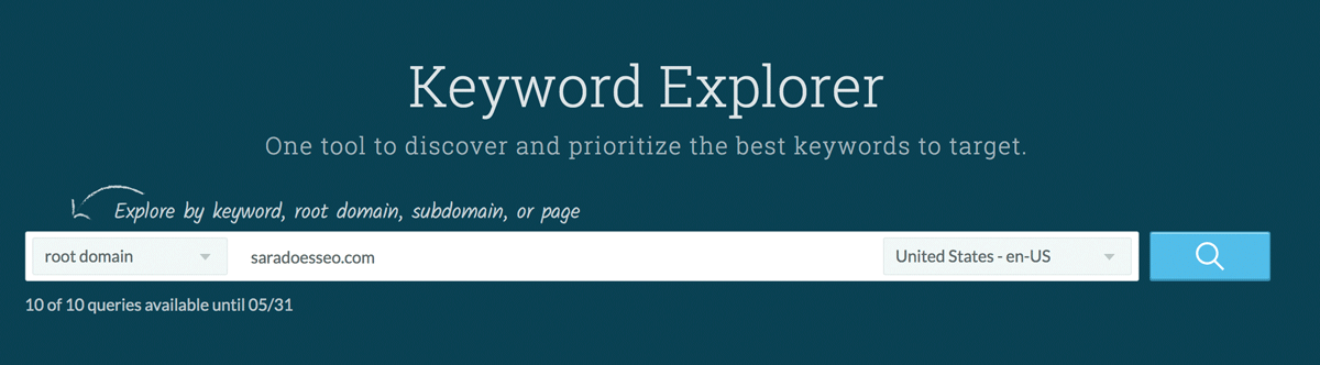 Where to enter domain in Moz Keyword Explorer