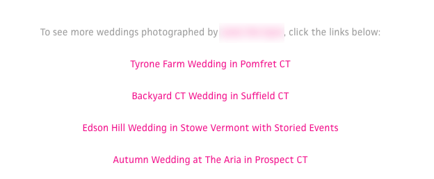 example of internal links on a blog post
