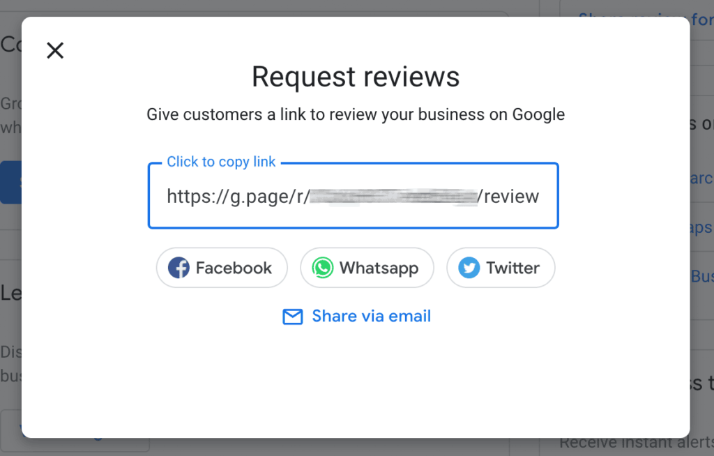 Google review link popup in Google My Business