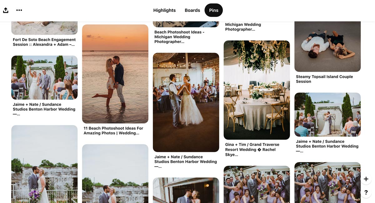 Pinterest with keywords by wedding photographer