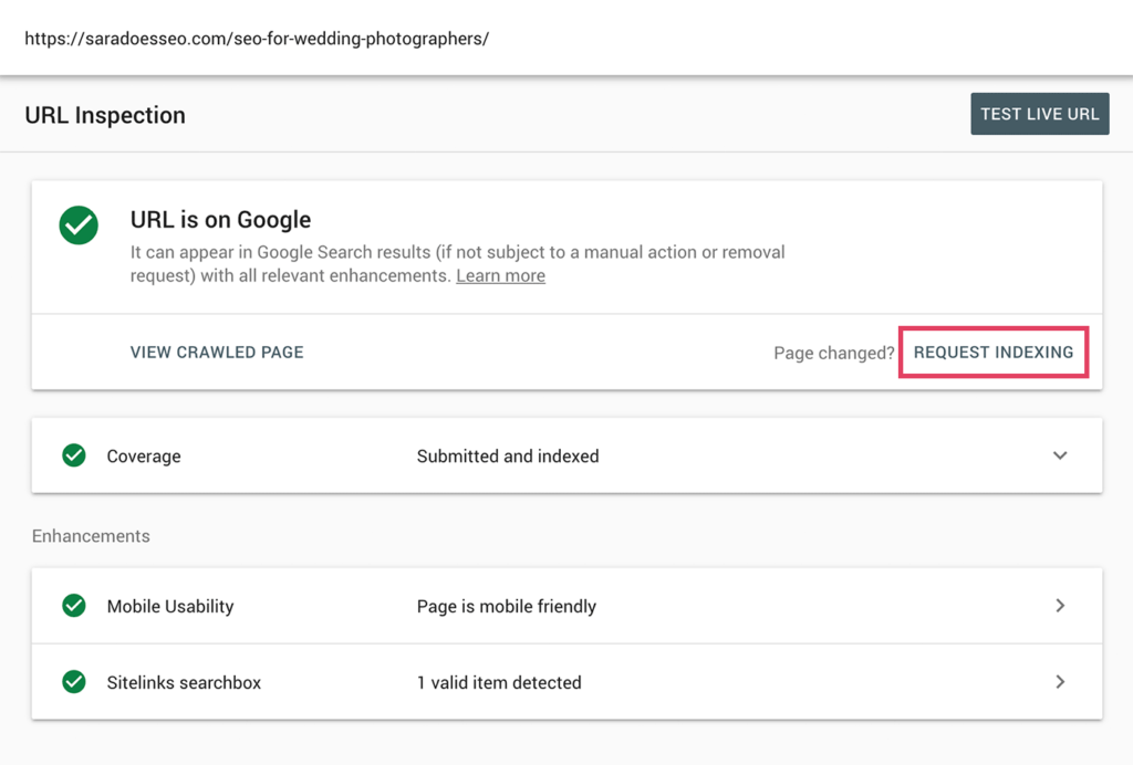 Google Search Console with Request Indexing highlighted