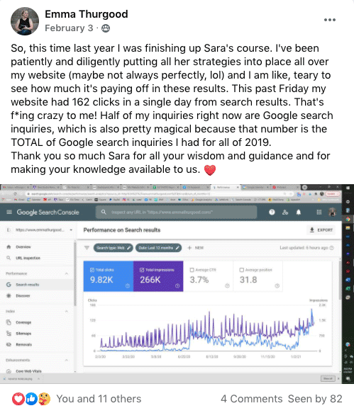 photographer's SEO results posted to Facebook