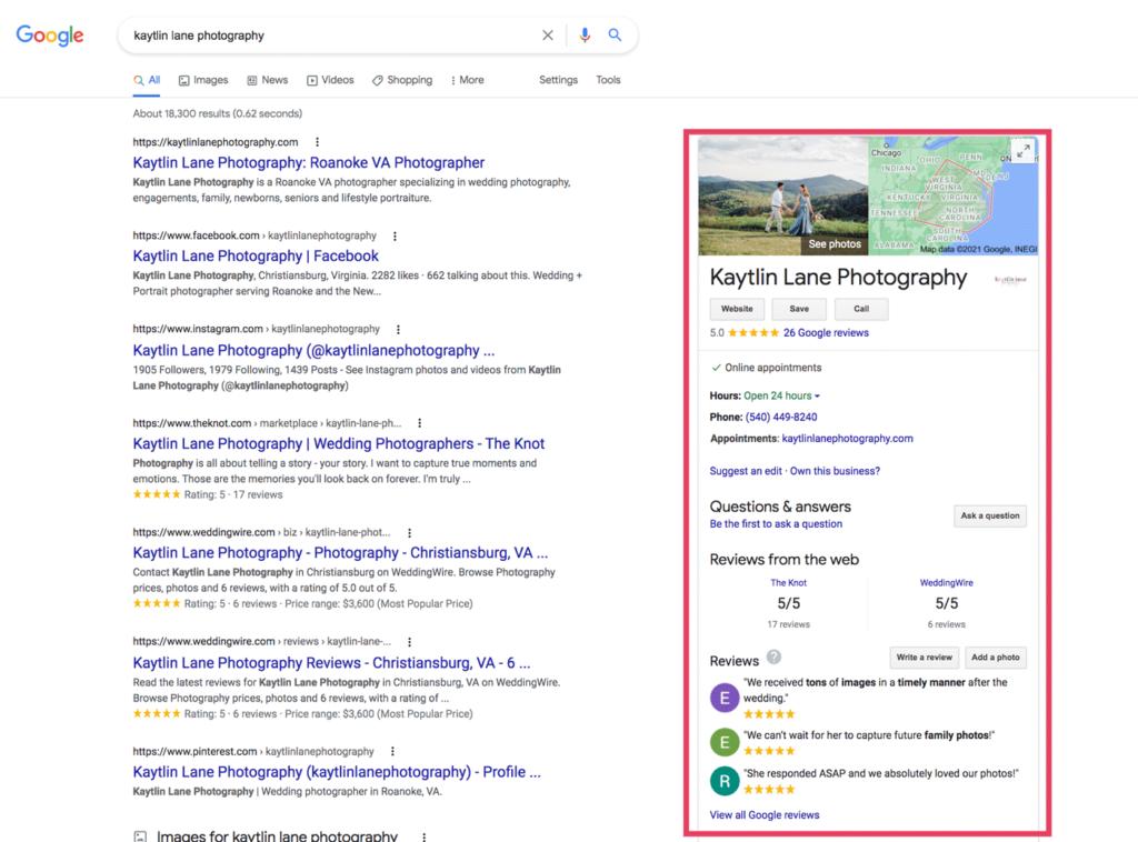 Google My Business photographer example