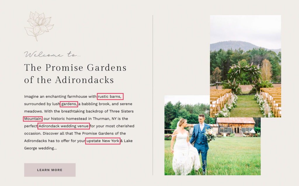 SEO keywords for wedding venues highlighted on a page