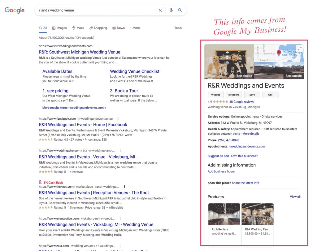wedding venue Google My Business listing example