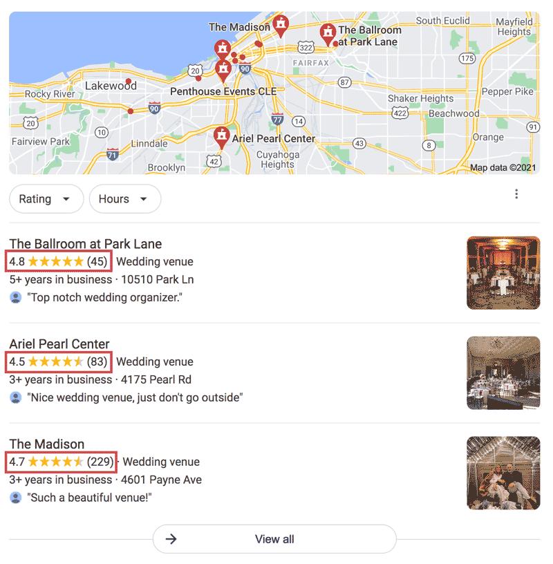 wedding venue Google reviews
