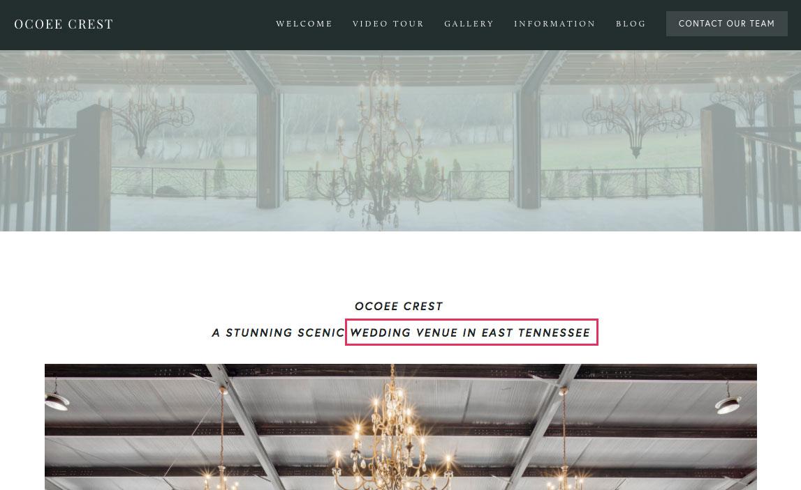 Wedding venue SEO keyword on home page
